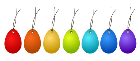 7 Easter Hangtags Eggs Colorful on White, stock vector illustration Illustration