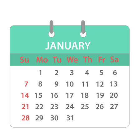 Block calendar on January 2018 on white; stock vector illustration
