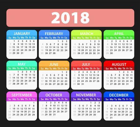 Year 2018 calendar vector template, stock illustration 일러스트