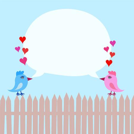 Rosa und blaue Vögel auf Zaun mit Herzen und Sprache sprudeln ober blauer Himmel, Vektorillustration auf Lager Vektorgrafik