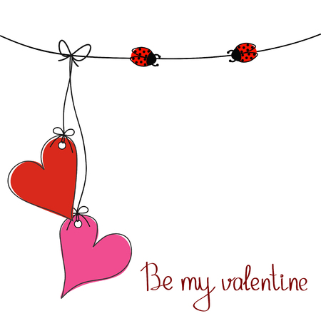 Be my valentine greeting card for St. Valentines Day with two hanging hearts on the rope and two ladybugs, stock vector illustration