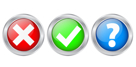 Check Marks & Information Silver Buttons Icons, stock vector illustration