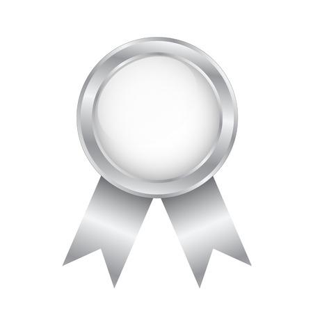 Silver Round Award Badge on White background, stock vector illustration Illustration