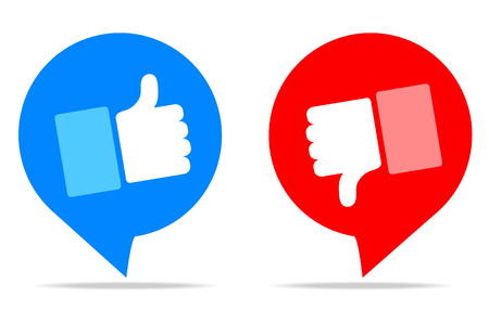 Thumbs up and thumbs down, stock vector illustration