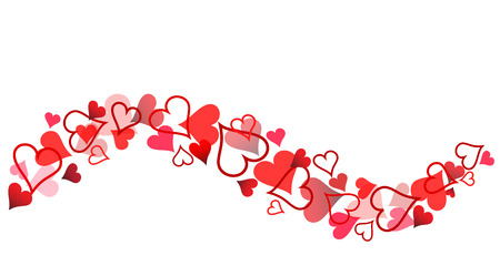 Red Hearts Banner for Valentine's Day on White, Stock Vector Illustration