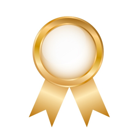 Golden Round Award Badge on White background, stock vector illustration