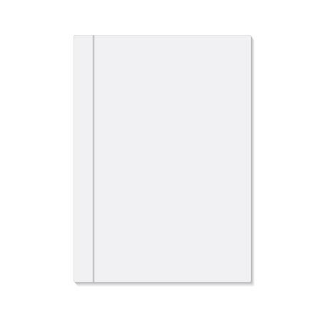 Blank white book cover, stock vector illustration