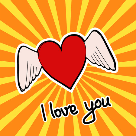 Red heart with wings on pop art style stripped background as greeting card I love you Ilustração
