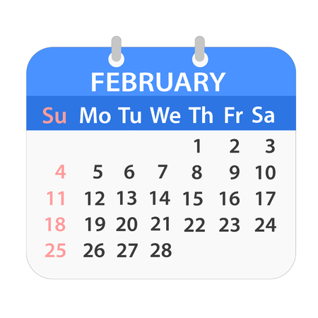 Block calendar on February 2018 on white color Illustration
