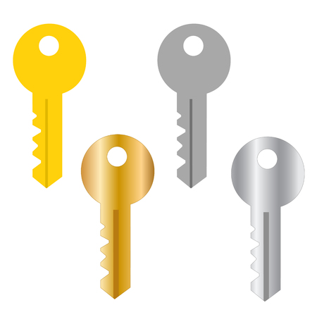 Security system concept represented by key icon. isolated and flat illustration Çizim