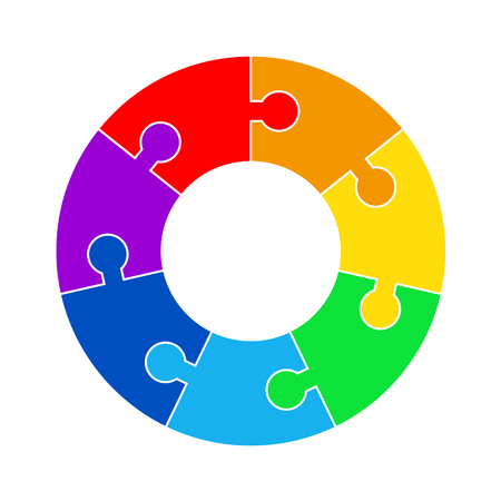 Puzzle circle jigsaw game figure icon. Isolated and flat illustration. Stock vector graphic.