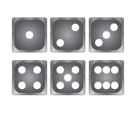 Black dice on white top vie, stock vector illustration Banque d'images - 101069283