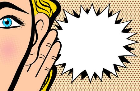 La donna tiene la sua mano vicino all'orecchio e ascolta in stile fumetto pop art su sfondo puntino, illustrazione vettoriale d'archivio