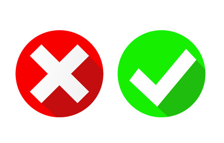 Vektor Ja und Nein Häkchen auf Kreisen, Vektorillustration Vektorgrafik