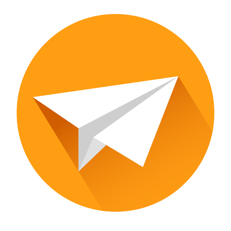 Paper airplane icon on white, stock vector illustration