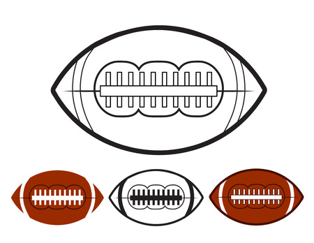 Set of ball american football oval iconon white, stock vector illustration Illustration