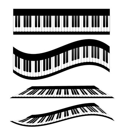 Conjunto de teclados de piano, ilustración vectorial de stock