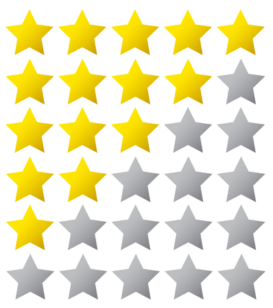 5 star rating. Vector illustration eps10. Isolated badge for website or app - stock infographics Vectores