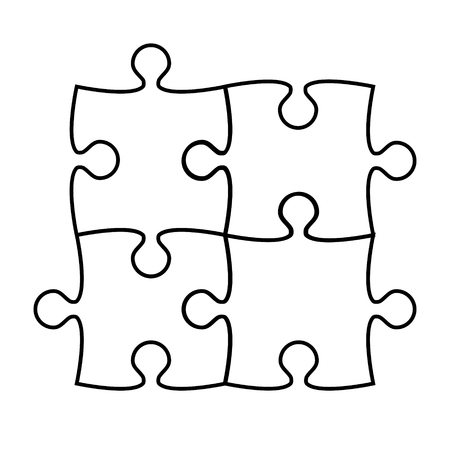 Puzzle icon silhouette on white, stock vector illustration Illustration