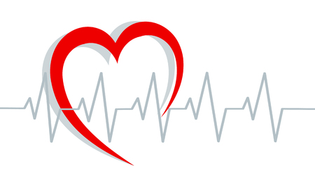 Red heart silhouette and cardiogram on white, stock vector illustration