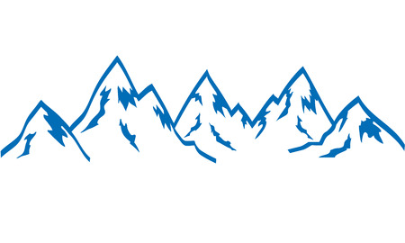 silhouette mountains hand draw icon blue on white, stock vector illustration Illustration