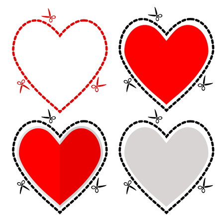 Illustration of a cut out red heart symbol shape with scissors vector, greeting card for St. Valentine's Day Vettoriali