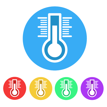 Set of thermometer flat icon on white, stock vector illustration