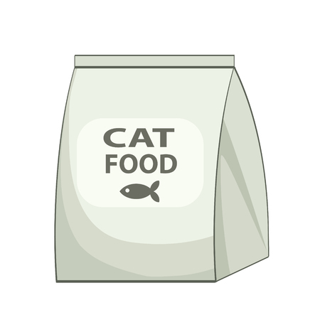 Cat food bag icon. Cartoon illustration of cat food bag vector icon for web