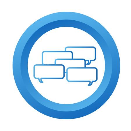 Blue dialog icon button, stock vector illustration