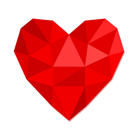 Red heart symbol love from crumpled paper, stock vector illustration