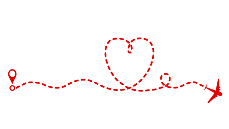 red plane and track as heart symbol, Valentine Day greeting card design, stock vector illustration