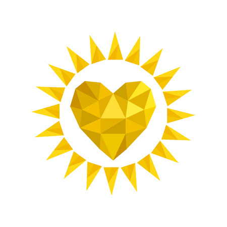 Yellow bright sun icon in heart shape from crumpled paper on white. Stock vector illustration Ilustração