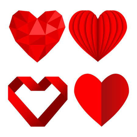 Set of red heart symbols love from crumpled paper and ribbon, stock vector illustration