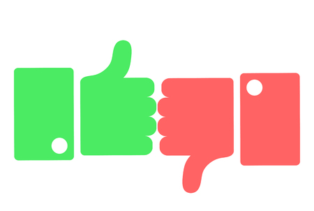 Hands showing thumbs up and down flat icon