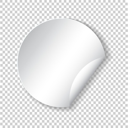 Round paper sticker template with bent edge with translucent shadow. Element for advertising and promotional message isolated on transparent background. Web banner. Vector illustration for your design Banque d'images - 102790048