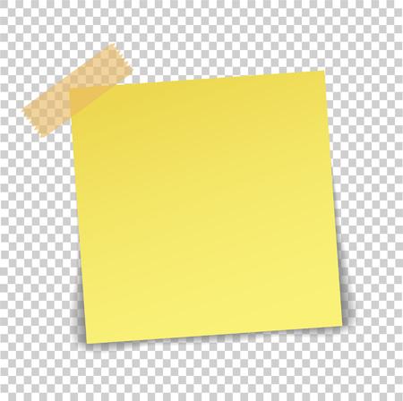 Hoja de papel sobre cinta adhesiva translúcida con sombra aislada sobre un fondo transparente. Plantilla de nota amarilla vacía para su diseño. Ilustración vectorial