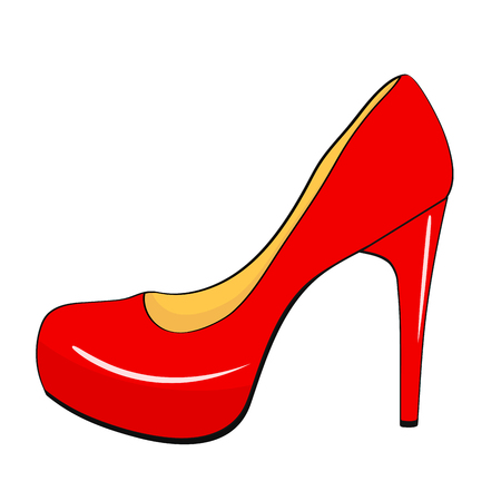 Red stylish high heel woman shoe in cartoon style. Stock vector Illustration