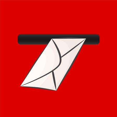Busta bianca in primo piano estremo della cassetta postale rossa, illustrazione di vettore d'archivio
