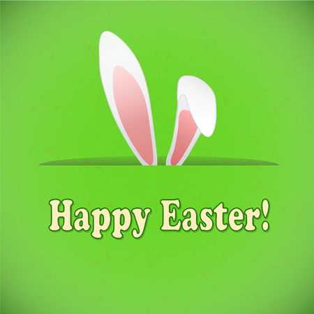 Easter greeting card with rabbit ears, stock vector illustration