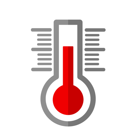 Thermometer flat icon on white, stock vector illustration Illustration