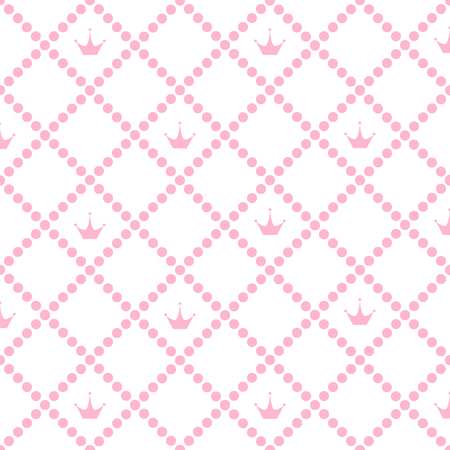 Princess Background Pattern with Pink Crown Stock Vector Illustration