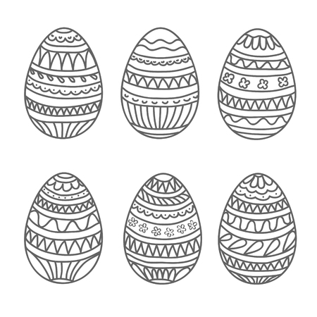 happy easter egg vector set, hand draw collection, stock vector illustration, eps 10