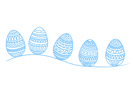 Easter holiday drawing eggs for greeting card, poster, banner, stock vector illustration