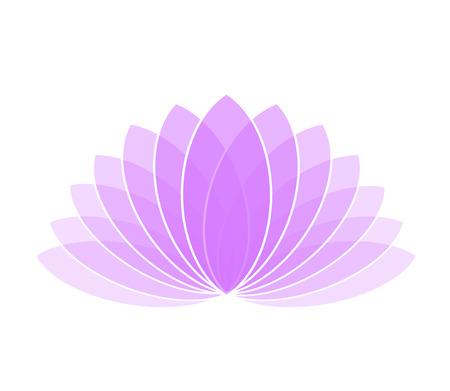 Violet Lotus Flower Icon Logo on White Background Illustration Ilustração