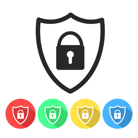 Security shield or virus shield lock line art icon for apps and websites