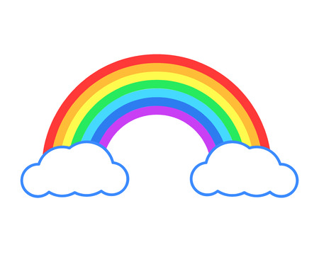 Colorful rainbow or color spectrum with clouds flat icon for apps and websites