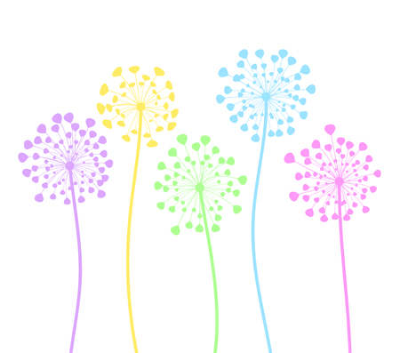 Colorful dandelion flowers in cartoon style on white, stock vector illustration