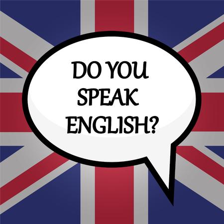 Do you speak English? education concept over British flag, stock vector illustration Vettoriali