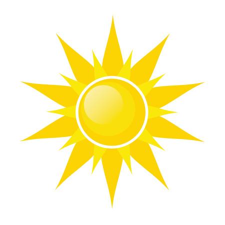 Sun symbol icon on white, stock vector illustration Illustration