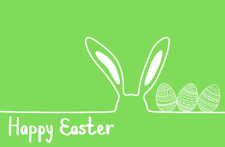 Happy easter image vector. Modern happy Easter background with colorful eggs, and ear bunny. Template Easter greeting card, vector. Ilustração